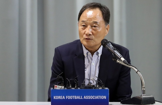 In this file photo taken on June 26, 2017, the Korea Football Association's new technical director Kim Ho-gon speaks at a press conference at the KFA House in Seoul. (Yonhap)