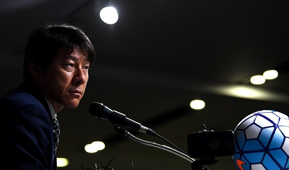 New South Korea national football team head coach Shin Tae-yong listens to questions at a press conference at the Korea Football Association headquarters in Seoul on July 6, 2017. (Yonhap)