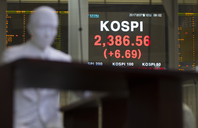 South Korea's benchmark Korea Composite Stock Price Index opened higher at 2,386.56 in early morning trade. (Yonhap)