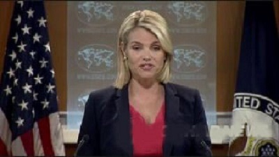 This image captured from the State Department`s website shows spokeswoman Heather Nauert