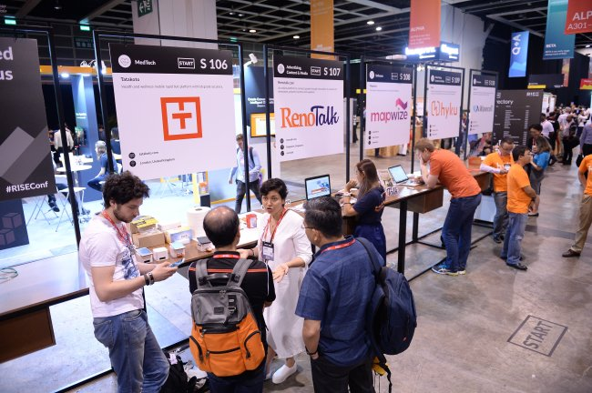 About 200 startups set up booths on the second day of the RISE 2017 event being held at the Hong Kong Convention & Exhibition Center on Wednesday. (RISE)