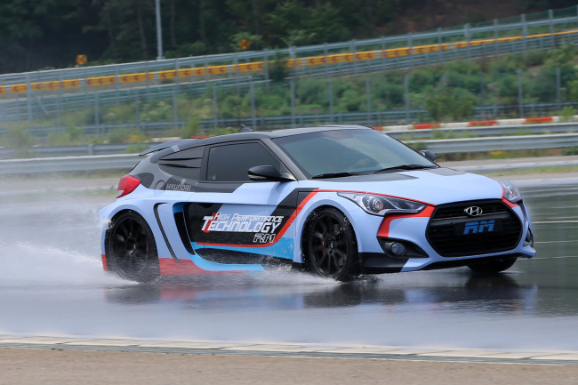 Hyundai Motor's high performance vehicle RM16, the fastest car by the South Korean carmaker to date, drives through a circuit at the Hyundai Global R&D Center in Hwaseong, Gyeonggi Province. (Hyundai Motor Group)