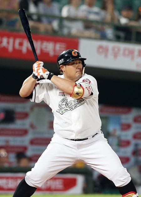 Lotte Giants designated hitter Choi Joon-seok at bat against the LG Twins in a game on June 28, 2017. (Yonhap)