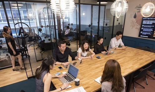 This file photo, taken on Aug. 2, 2016, shows the first Korean office of WeWork, a global coworking space provider, in southern Seoul. (Yonhap)