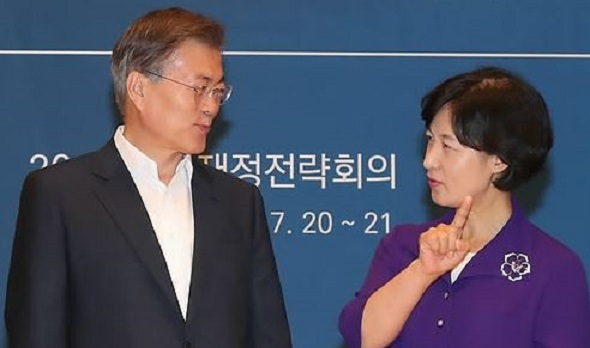 This photo, taken on July 20, 2017, shows President Moon Jae-in and Choo Mi-ae, the leader of the ruling Democratic Party, talking during a state finance strategy meeting at the presidential office Cheong Wa Dae in Seoul. (Yonhap)