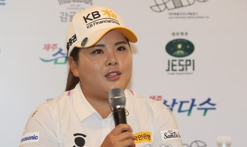 South Korean golfer Park In-bee speaks at a press conference for Korea LPGA Tour`s Jeju Samdasoo Masters at Ora Country Club in Jeju, Jeju Island, on Aug. 10, 2017. (Yonhap)