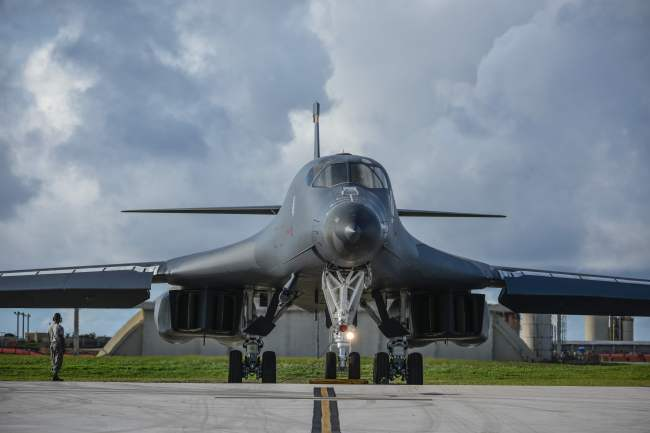 A B-1B nuclear bomber is seen at Anderson Air Force Base in Guam on Monday. (AFP-Yonhap)