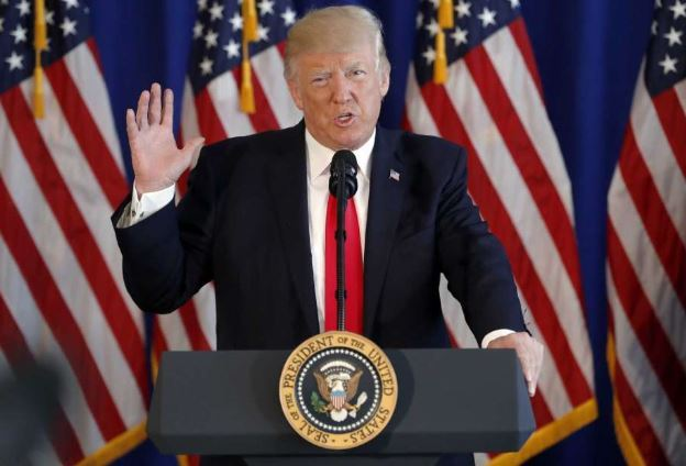 President Donald Trump speaks about the ongoing situation in Charlottesville, Va., at Trump National Golf Club, Saturday, Aug. 12, 2017, in Bedminster, NJ. (AP)