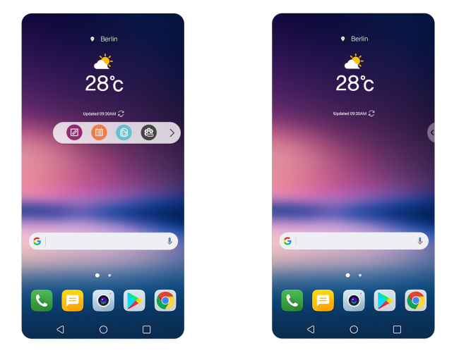 Floating Bar feature in LG Electronics new V30