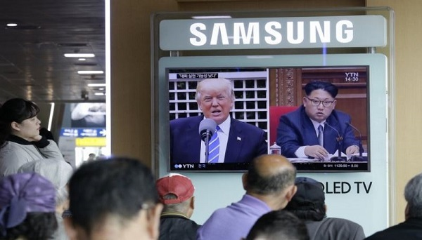 In the May 2, 2017 file photo, a TV screen shows images of US President Donald Trump, left, and North Korean leader Kim Jong Un during a news program at the Seoul Railway Station in Seoul, South Korea. Tensions between the United States and North Korea tend to flare up suddenly and then fade away almost as quickly, but the latest escalation won`t likely go away quite so easily.(AP)