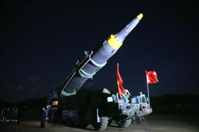 North Korea`s ballistic missile Hwasong-12. (Yonhap)