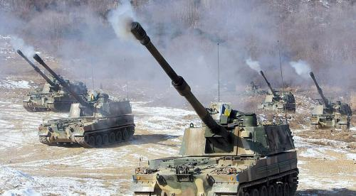 South Korea self-propelled Howitzer K-9 engages in a live-fire exercise. Yonhap