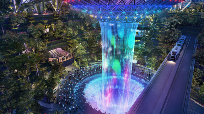 Majestic Rain Vortex in Singapore (Jewel Changi Airport Development)