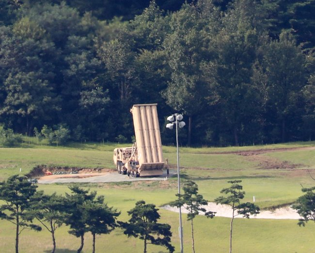This photo shows a launcher of the US' Terminal High Altitude Area Defense system at its site in Seongju, North Gyeongsang Province, Tuesday. (Yonhap)