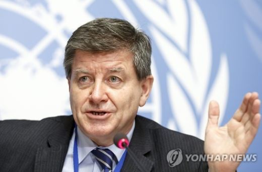 This photo released by Europe`s news photo agency EPA on Jan. 19, 2016, shows Guy Ryder, Director-General of the International Labour Organization (ILO). (Yonhap)