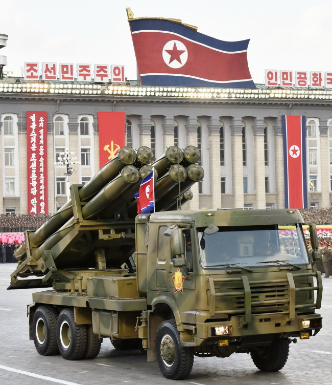 North Korea`s advanced 300-milimeter multiple launch rocket system is seen during a military parade in Pyongyang in October 2015. (Kyodo-Yonhap)