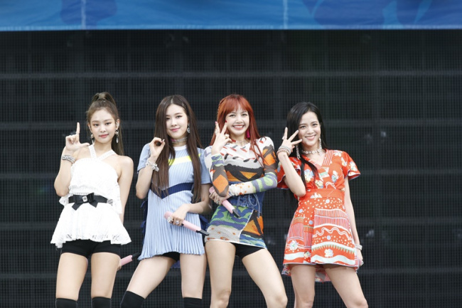 Black Pink performs at the A-nation 2017 concert held at Ajinomoto Stadium in Tokyo on Sunday. (YG Entertainment)
