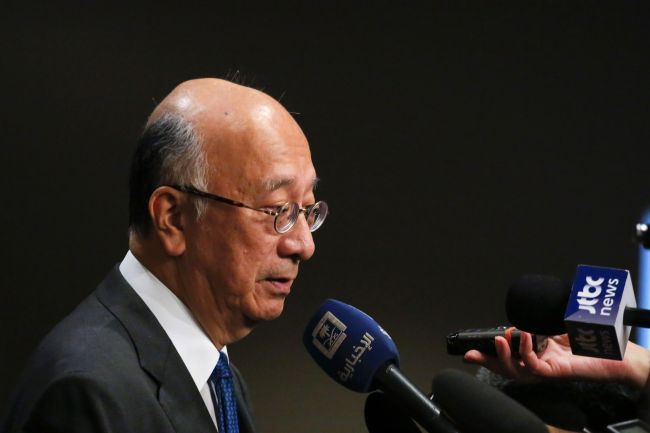 Japan's UN Ambassador Koro Bessho exits a UN Security Council emergency meeting over North Korea's latest missile launch on August 29, 2017 at UN Headquarters in New York. (AFP-Yonhap)