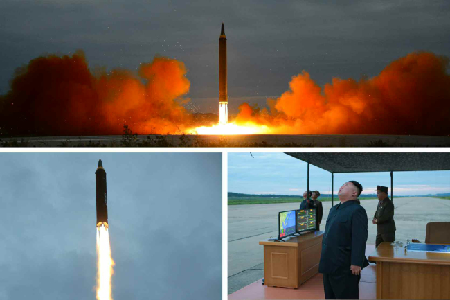 A combination picture shows North Korean leader Kim Jong-un observing the launch of a Hwasong-12 intermediate-range ballistic missile in Pyongyang on Tuesday, as distributed by he North's official Korean Central News Agency on Wednesday. (Yonhap)