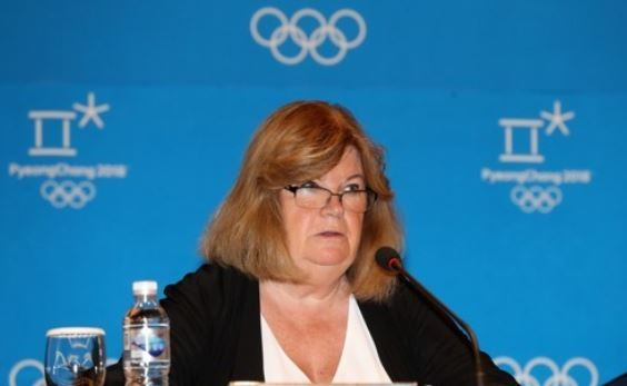 Gunilla Lindberg, head of the International Olympic Committee`s Coordination Commission on PyeongChang 2018, speaks at a press conference at Alpensia Convention Centre in PyeongChang, Gangwon Province, on Aug. 31, 2017. (Yonhap)