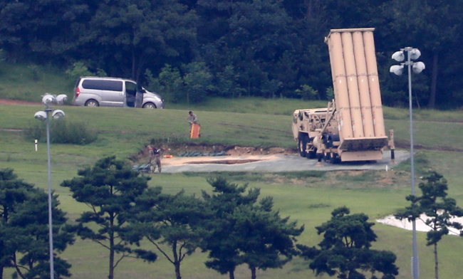 A THAAD launcher stationed in Seongju, North Gyeongsang Province. Yonhap