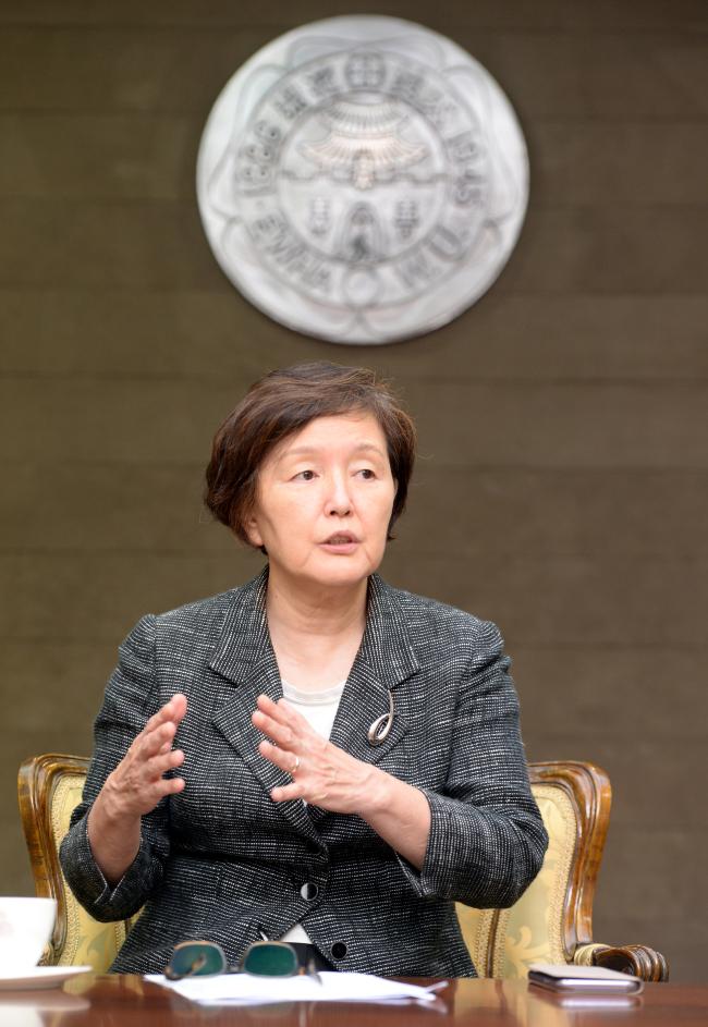 Kim Hei-sook, Ewha Womans University president (photo: Park Hyun-koo/The Korea Herald)