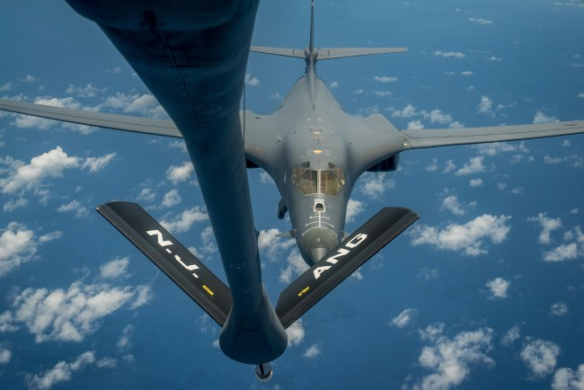 A handout photo made available by th US Air Force on 01 September 2017 shows a US Air Force B-1B Lancer preparing to receive fuel from a KC-135 Stratotanker during a mission from Andersen Air Force Base, Guam, into Japanese air space and over the Korean Peninsula, 31 August 2017. (EPA-Yonhap)