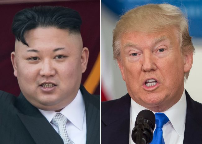This combo of file photos shows an April 15 image of North Korean leader Kim Jong-un during a military parade in Pyongyang and a July 19 image of US President Donald Trump speaking in Washington. (AFP-Yonhap)