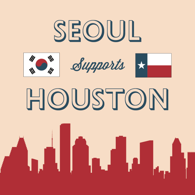 Promotional image for the Seoul Supports Houston fundraising campaign
