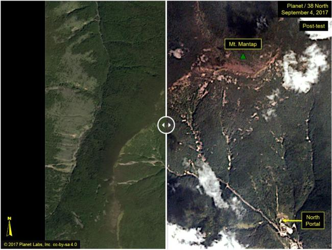 Satellite images show the Punggye-ri nuclear test site before and after North Korea's sixth nuclear test. (38 North-Yonhap)