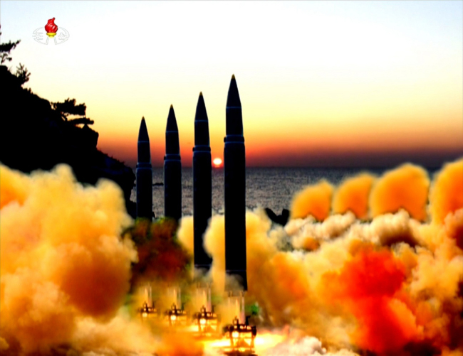 North Korea`s state-run Korean Central News Agecny released afootage of missile launches in August. Yonhap