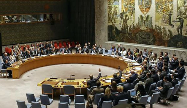 This photo, provided by The Associated Press on Sept. 11, 2017, shows the United Nations Security Council`s adoption of new sanctions over North Korea`s sixth nuclear test. (Yonhap)