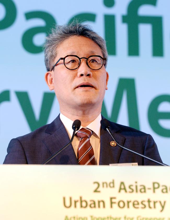 Kim Jae-hyun, minister for the Korea Forest Service. (Park Hyun-koo/The Korea Herald)