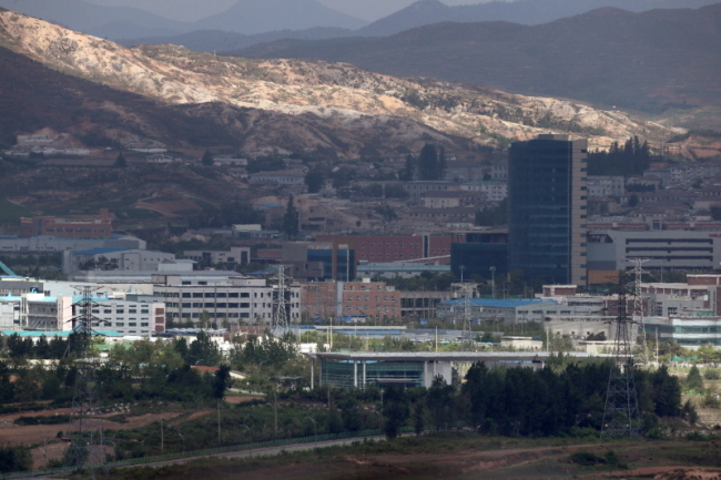 Kaesong Industrial Complex, closed for nearly 18 months, is seen from Paju, Gyeonggi Province. (Yonhap)