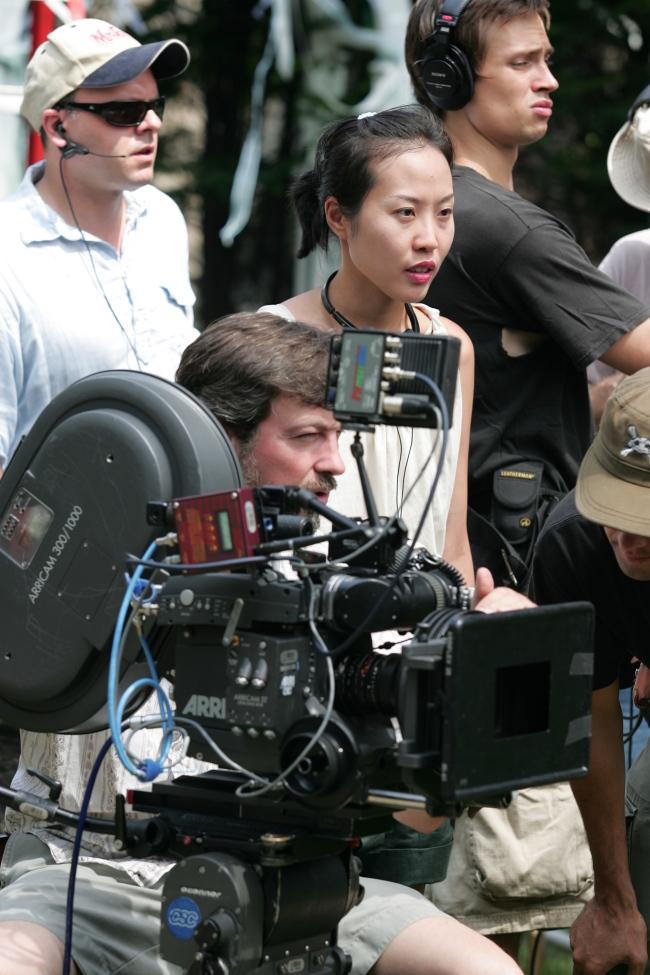 Gina Kim is photographed on a film set. (Gina Kim)