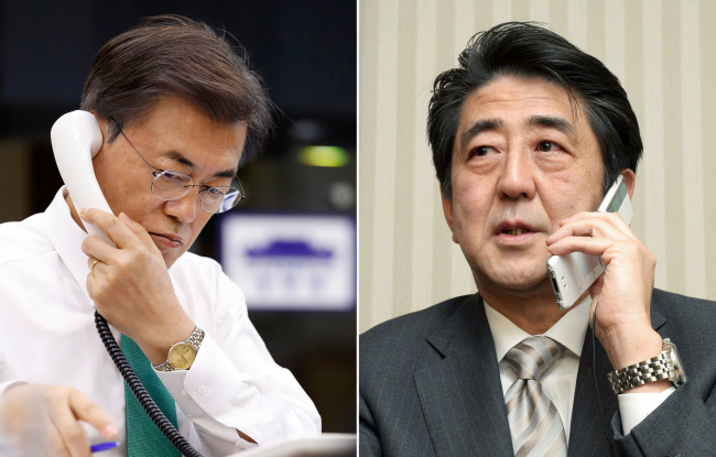 President Moon and Prime Minister Abe (Yonhap)