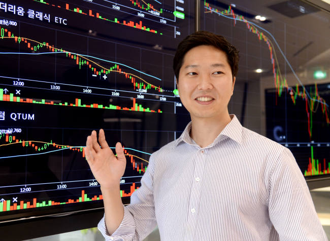 Kevin Cha, founder and chief executive of digital currency exchange Coinone, speaks during an interview with The Korea Herald in Seoul. (Park Hyun-koo/The Korea Herald)