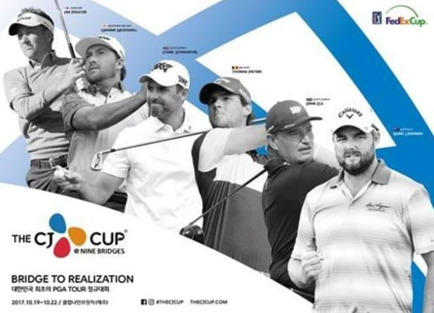 This promotional poster of the CJ Cup@Nine Bridges on the PGA Tour, provided by the organizers on Sept. 20, 2017, shows players who have committeed to the first PGA tournament to be played in South Korea. From left: Ian Poulter, Graeme Dowell, Charl Schwartzel, Thomas Pieters, Ernie Els and Marc Leishman.(Yonhap)