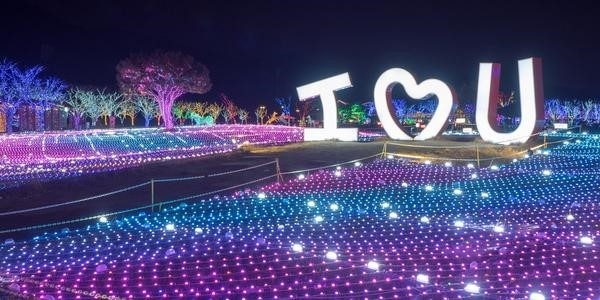 Theme Park of Light with purple illuminated trees and i love you statue