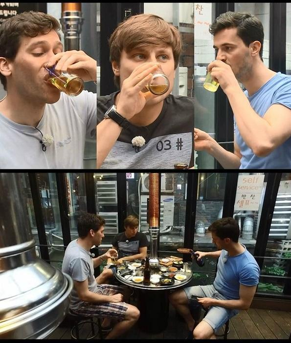 German television personality Daniel Lindemann's friends drink beer on their first trip to Korea. (MBC Every1)