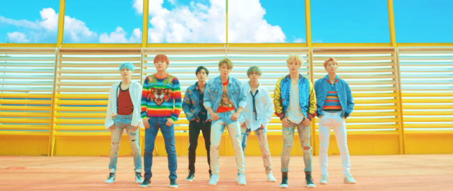 "A screen grab from BTS' music video for ""DNA"" (YouTube)"