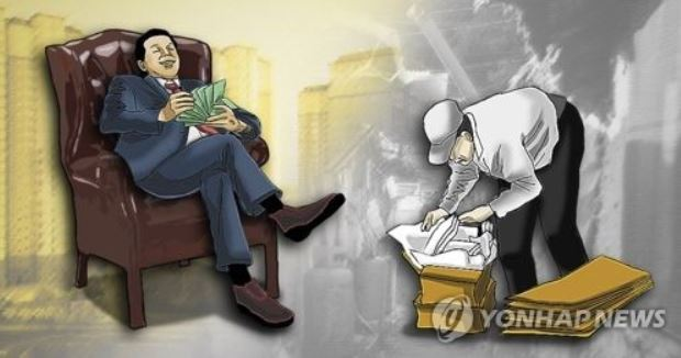An illustration of the rich and poor. (Yonhap)