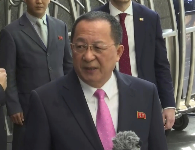 North Korean Foreign Minister Ri Yong-ho accuses the US of declaring war on his country in New York on Tuesday. AP