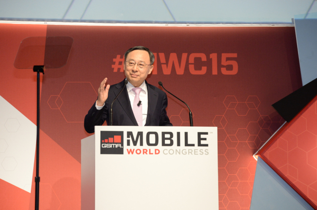 KT Chairman and CEO Hwang Chang-gyu giving a keynote speech at the 2015 Mobile World Congress in Barcelona, Spain (KT)