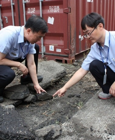 Authorities inspect a potential fire ant nest at a harbor in the southern port city of Busan, Tuesday. Yonhap