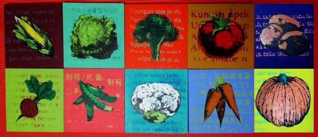 """""""Neo-Pop Veggies"""" by Christopher Maslon, acrylic silk screen prints of vegetables and poetry."""
