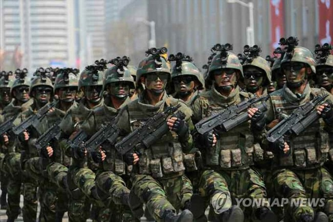 This file photo from April 2017 shows North Korean special forces taking part in a military parade to mark the 105th birthday of the North's late founder, Kim Il-sung. (Yonhap)