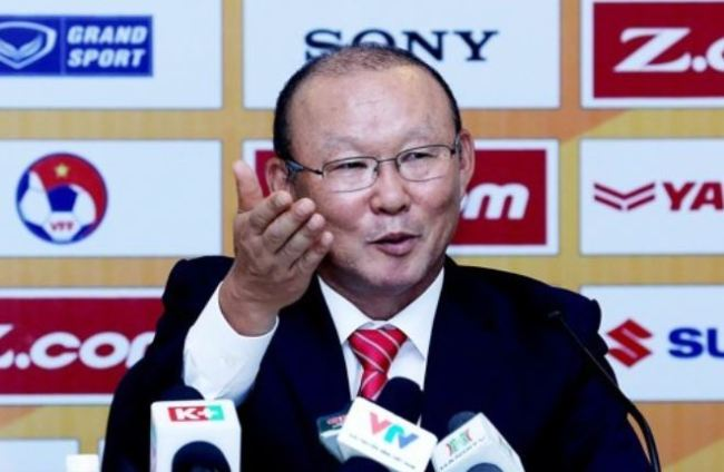 This photo provided by DJ Management shows Park Hang-seo speaking at a press conference in Hanoi on Oct. 11, 2017, after he became head coach of the Vietnamese national football team. (Yonhap)