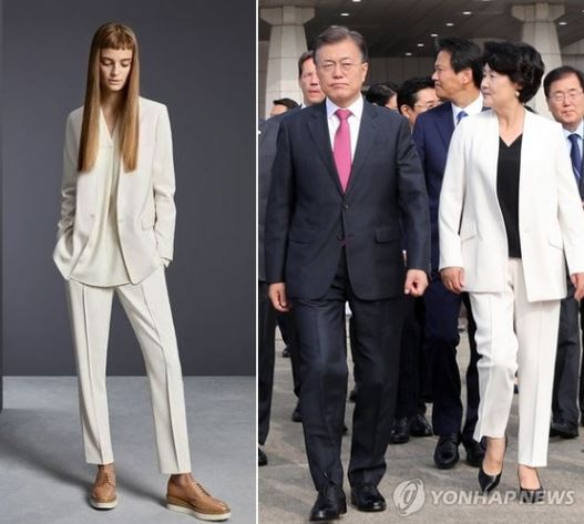 A photo of the suit on the left (G Market) and Kim (Yonhap)