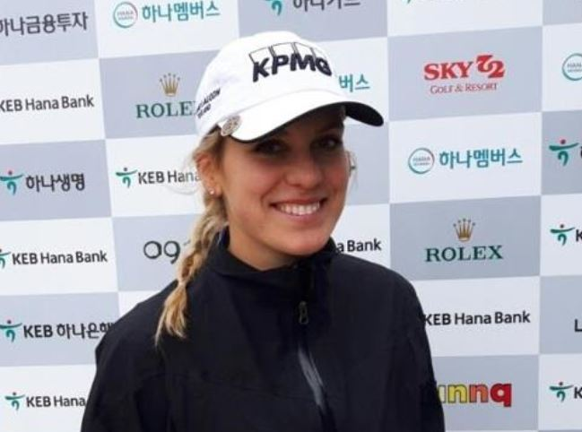Olafia Kristinsdottir of Iceland poses for pictures after an interview with Yonhap News Agency after the first round of the LPGA KEB Hana Bank Championship at Sky 72 Golf & Resort`s Ocean Course in Incheon on Oct. 12, 2017. (Yonhap)